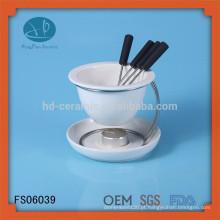 Conjunto de fondue de cerâmica branca com suporte de ferro, mini pote quente, fondue de chocolate com forquilhas, pote de chocolate + suporte
