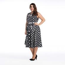 Venta caliente de las mujeres de tamaño grande vestido de fiesta en blanco y negro puntos vestido de hombro más vestido de tamaño