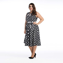 Hot selling fat size women party dress black and white dots off shoulder dress plus size dress