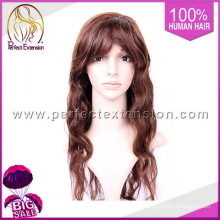 Vista natural da onda do corpo da peruca do laço, peruca de alta qualidade do cabelo de Remy da densidade de 80%