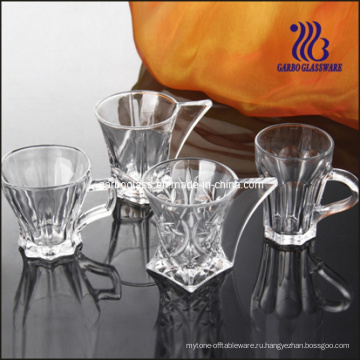 Стильная стеклянная кружка и блюдце / набор для чая