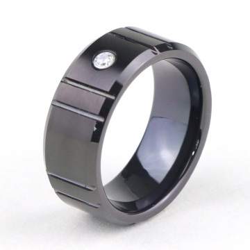 Anello di fidanzamento in carburo di tungsteno nero con diamante