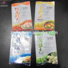 Custom printed BOPP PE laminated plastic frozen food packaging bag for fish ball and fish cake packaging