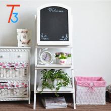 wooden plate racks blackboard with flower display shelf