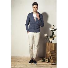 100% coton Pure Color V-Neck Knit Men Cardigan Tricots avec bouton
