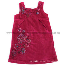 Fuchsia 2-6Y Nova cotton corduory flower embroidered baby girls' winter dress