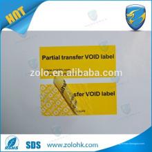 Ruban anti-contrefaçon anti-falsification, étiquette d'étiquette vide de garantie s'il est falsifié ou emballé
