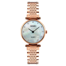 SKMEI 1223 Women Crystal Dial Stainless Steel Quartz Watch
