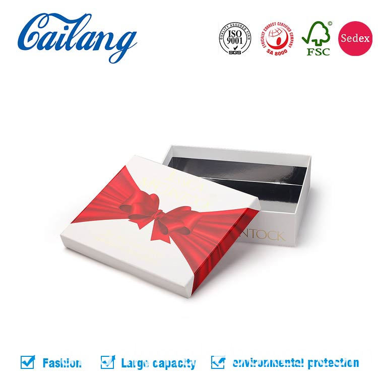 red logo paper packaging box with blister insert for cosmetics holding