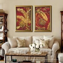 Оптовая Главная Декоративные Современные Абстрактные Gloden Лист Металл Wall Art