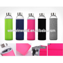 Outdoor Sport Pyrex Glass Water Bottle with Silicone Sleeve Unbreakable