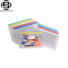 Pencil zipper packing bag clear PVC pencil packing bag slider