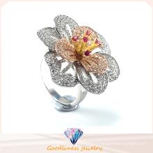 Joyería de la manera Alta calidad y venta caliente anillo elegante de la joyería de la plata del anillo de la flor R10501