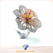 Alta qualidade da jóia da forma & venda quente Anel elegante da jóia da prata do anel da flor R10501
