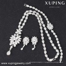 S-46 unique dames couleur blanche luxe zircon cubique bijoux de mode fantaisie ensemble s-46