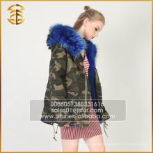 Europäischer Art-Art- und Weisefrauen-Jacken-blauer mit Kapuze Pelz Parka