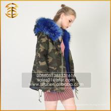 2017 Горячие продажи дешевых девочек Real Fox Witner Fur Parka