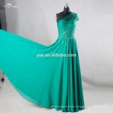RSE730 un hombro de lentejuelas con cuentas japonés largo verde esmeralda vestido de baile
