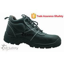 SRSAFETY chaussures de sécurité industrielles garnissent les chaussures de sécurité en cuir fendues à la vache chaussures de sécurité en acier noir, fabriquées en Chine