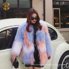 High Quality Women Fashion Bright Colorful Mongolian Fur Coat Fur Overcoat