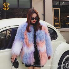 Mulheres de alta qualidade Moda Casaco de peles de pele de mola mongol colorido brilhante