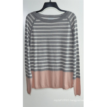 Ladies Round Neck Striped Pullover Knit Sweater