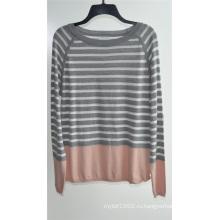 Дамы круглый шею полосатый свитер свитер вязать свитер