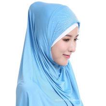 2017 Verão maravilhoso cor sólida perfuração quente muçulmano lenço instantâneo hijab