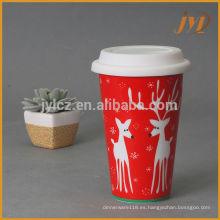 Taza de pared doble 10oz con tapa de silicona para Navidad