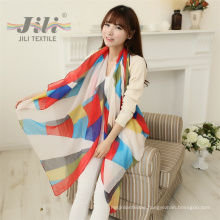 Ladies Famious Brand Voile Scarf Wholesale Customized Women Geometry Printed Scarf