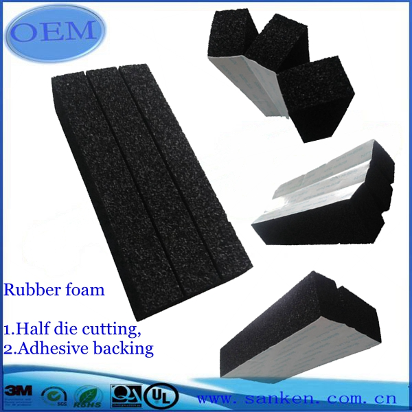 Custom half die cut adhesive rubber foam examples -overall face