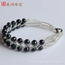 2 Rows Fashion Black Freshwater Cultured Pearl Bracelet (EB1517-1)
