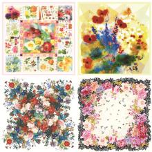 Nouvelle écharpe en soie de châle de fleur d'impression de style (F-003)