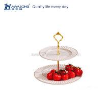 Redonda forma pura branco bonito design barato cerâmica sobremesa pratos, quente venda fina duas camadas placas