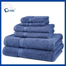 100% хлопчатобумажные спиральные синие наборы для полотенец (QHS5591)