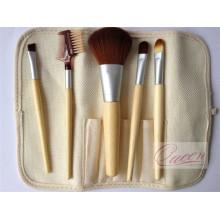Brosse de maquillage en bambou 5PCS avec une pochette