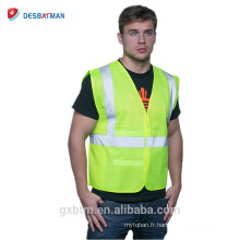 En gros Fabrication Polyester Ansi Class 2 Veste de Travail Réglable Haute Visibilité Avertissement Sécurité Travail Réfléchissant Gilet