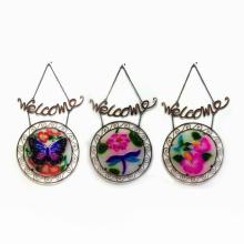 """Metall """"Willkommen"""" Hanging Garden Craft mit Glasmalerei"""