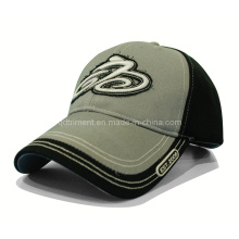 Contrast Stitching Raw Edge Applique Embroidery Racing Sports Cap (TRB070)