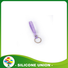 Purple Custom Silk Screen Dicetak Silicone Keychain