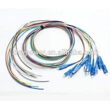 SC / PC multimodo 62.5 / 125, singlemode 9/125 0.9mm Fibra óptica Pigtails 12 cor 12 núcleos