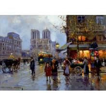 Pintados à mão pinturas da rua de Paris para decoração Home