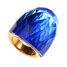 Big Stone Large Ring avec grand cristal bleu