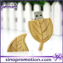 Venta al por mayor Memoria USB de madera de la forma 32GB de la hoja
