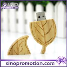 Venta al por mayor de la forma de la hoja 32GB de madera USB Flash Drive