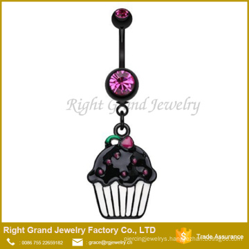 Black Titanium Plated 316L Surgical Steel Fuchsia Crystal Cup Cake Enamel Dangle Belly Button Ring