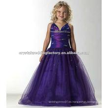El V-neckline libre del envío rebordeó el desfile largo por encargo púrpura acanalado de las muchachas viste CWFaf4888