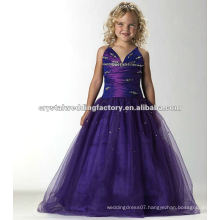 Free shipping V-neckline beaded ruched purple custom-made long girls pageant dresses CWFaf4888