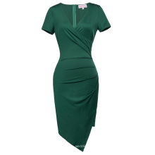 Belle Poque Short Sleeve V-Neck Asymmetrical Hips-Wrapped Dark Green Bodycon Pencil Dress BP000363-3