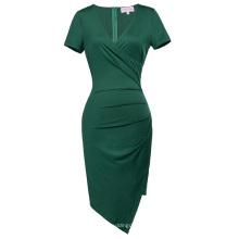 Belle Poque manga curta em forma de pescoço asimétrico em forma de quadril vestido verde escuro Bodycon Pencil BP000363-3